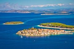 Adriatic tourist destination of Primosten aerial panoramic archi Stock Image