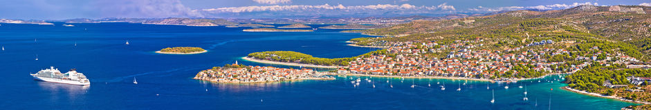 Adriatic tourist destination of Primosten aerial panoramic archi Royalty Free Stock Photography