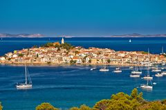 Adriatic tourist destination of Primosten aerial panoramic archi. Pelago view, Dalmatia, Croatia Stock Photos