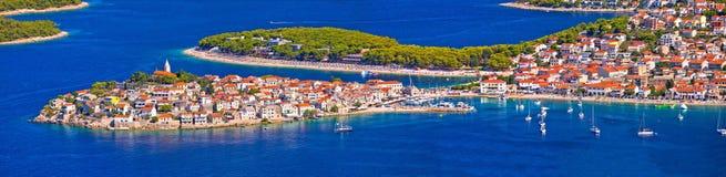 Adriatic tourist destination of Primosten aerial panoramic archi Royalty Free Stock Photo