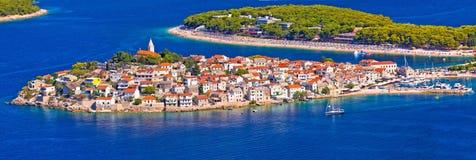 Adriatic tourist destination of Primosten aerial panoramic archi Stock Photography
