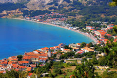 Adriatic Town of Baska aerial panorama stock photography