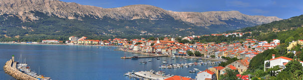 Adriatic Town of Baska panoramic view. Croatian pearl, Baska - located in the island of KRK, with one of the most beautiful beach in Croatia Stock Photo