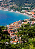 Adriatic town of Baska vertical aerial view Stock Photo