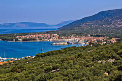 Adriatic Town of Cres bay. Colorful aerial view, Croatia Royalty Free Stock Photo