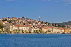 Adriatic Town of Mali Losinj, view from sea. Beautiful croatian touristic destination seafront Royalty Free Stock Images