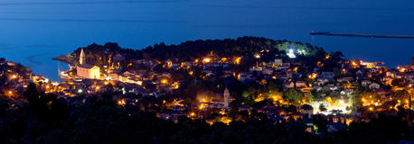Adriatic town of Veli Losinj panoramic view. Adriatic town of Veli losinj panoramic aerial view at blue hour, Croatia Stock Photos