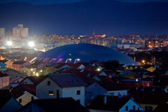 Adriatic town of Zadar skyline. Adriatic town of Zadar night skyline with sport arena Royalty Free Stock Photo