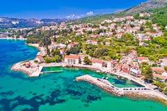 Adriatic village of Mlini waterfront aerial view. Dubrovnik coastline of Croatia stock photos