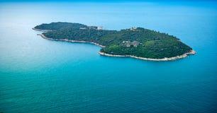 Adriatische Insel - Otok Okrum - Antenne Lizenzfreies Stockfoto