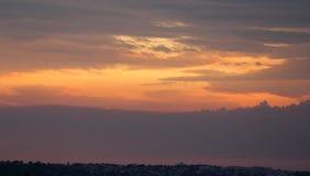 Adriatische Küste des Slowenen bei Sonnenuntergang Stockbilder