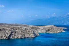 Adriatische Küste in Kroatien, Insel PAG Lizenzfreie Stockfotos