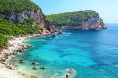 Adriatische Seeküste in Budvan Riviera, Montenegro Stockfotografie