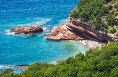 Adriatische Seeküste in Budvan Riviera, Montenegro Lizenzfreies Stockbild