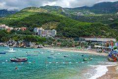 Adriatische Seeküste, Przno-Strand, Milocer, Montenegro Stockbilder