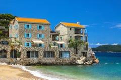 Adriatische Seeküste, Przno-Strand, Milocer, Montenegro Stockbild