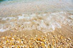 Adriatische Seeküstenansicht Küste von Italien, von sandigem Strand und von Welle, Sommerhintergrund Stockfotografie