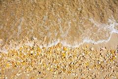 Adriatische Seeküstenansicht Küste von Italien, von sandigem Strand und von Welle, Sommerhintergrund Stockbilder