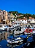 Adriatische stad van de haven van Veli Losinj Stock Foto