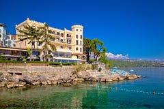 Adriatische Stadt der Strand- und Ufergegendansicht Opatija Lizenzfreies Stockbild