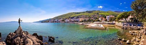 Adriatische Stadt des Opatija-Ufergegendpanoramablicks Stockfotos