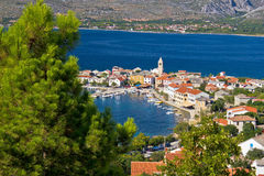 Adriatische Stadt von Vinjerac-Vogelperspektive Stockfoto