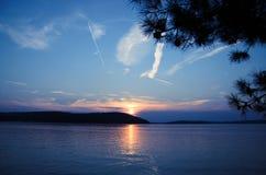 Adriatische Zonsondergang Royalty-vrije Stock Foto