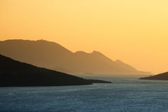 Adriatischer Hafen bei Sonnenuntergang Lizenzfreies Stockbild