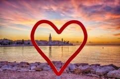 Adriatischer Küstensonnenuntergang, Porec, Kroatien Lizenzfreies Stockfoto