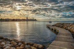 Adriatischer Küstensonnenuntergang, Porec, Kroatien Stockbilder