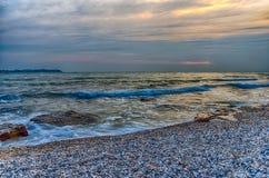 Adriatischer Küstesonnenuntergang Stockfotos