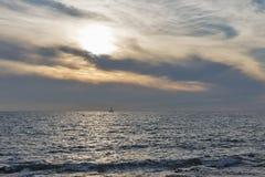 Adriatischer Meerblick bei Sonnenuntergang in Istria, Kroatien Lizenzfreie Stockfotos