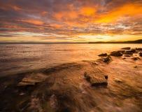 Adriatischer Sonnenuntergang, adriatisches Meer, Slowenien Stockbilder