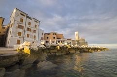Adriatischer Sonnenuntergang, adriatisches Meer, Slowenien Lizenzfreies Stockbild