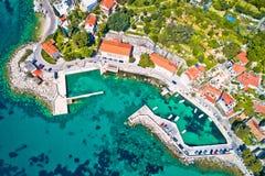 Adriatisches Dorf der Mlini-Ufergegendvogelperspektive Lizenzfreies Stockbild