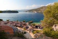 Adriatisches Meer bei Sonnenuntergang - Dubrovnik Babin Kuk, Lapad, Kroatien Lizenzfreie Stockbilder