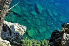 Adriatisches Meer, felsige Küste, saubere Himmellandschaft der Mittelmeerregion, Montenegro Lizenzfreie Stockfotografie