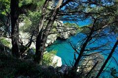 Adriatisches Meer, felsige Küste, saubere Himmellandschaft der Mittelmeerregion, Montenegro Lizenzfreies Stockbild