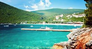 Adriatisches Meer Montenegro Seeansicht Zanjic-Strandhalbinsel Lustica Stockbilder