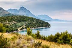 Adriatisches Meer und Berge nähern sich Dubrovnik Lizenzfreies Stockbild