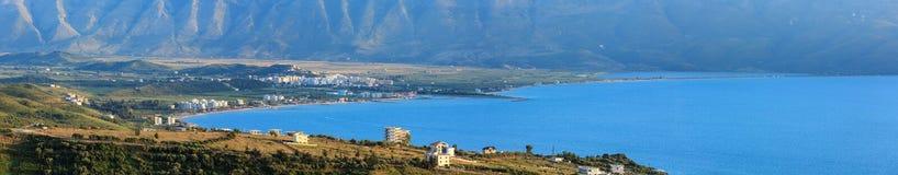 Adriatisches Seeabendansicht Albanien Stockfotografie