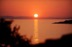 Adriatisches Seeinseln bei Sonnenuntergang Stockfotos