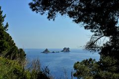 Adriatisches Seekleine Inseln, Kieferschattenbild, saubere Himmellandschaft der Mittelmeerregion, Montenegro Stockfotos