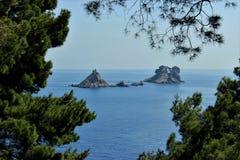 Adriatisches Seekleine Inseln, Kieferschattenbild, saubere Himmellandschaft der Mittelmeerregion, Montenegro Stockfoto