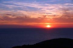 Adriatisches Seesonnenuntergang Stockfoto