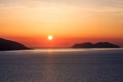Adriatisches Seesonnenuntergangansicht Albanien Stockfoto