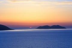 Adriatisches Seesonnenuntergangansicht Albanien Lizenzfreie Stockfotos