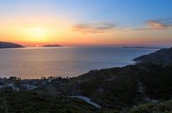Adriatisches Seesonnenuntergangansicht Albanien Lizenzfreies Stockbild