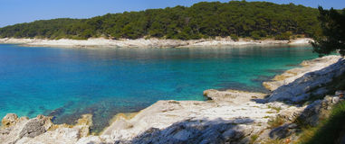 Adriatisches Strandpanorama Stockbild