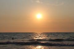 Adriatiskt havsolnedgång Arkivbild